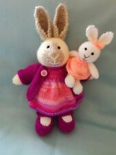 Mummy Bunny and Baby - Hand Knitted Soft Toy - New Custom Crafted