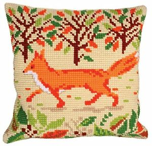"""Chunky Cross Stitch Cushion Front Kit  Collection D'Art """"Red Fox"""" 40x40cm"""