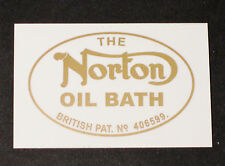 NORTON OIL BATH British Pat # vinyl sticker decal peel and stick  Road holder
