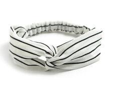 Fascia per capelli elastica donna nodo elegante bianco strisce nero