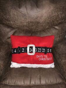 St.nicholas Square Santa Belt Countdown To Christmas Pillow