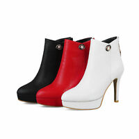 Womens Shoes Synthetic Leather Platform High Heels Zip Ankle Boots US Size b028