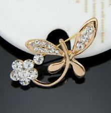 Yellow Gold Plated Flowers Costume Brooches & Pins