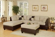 3pc Sectional Sofa Microfiber / Bonded Leather Set W Chaise (Beige)
