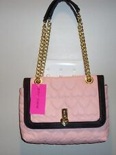 NWT BETSEY JOHNSON BE MINE FLAP XBODY *BLUSH/BLACK * CROSSBODY