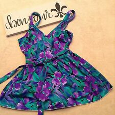 Maxine Of Hollywood Swimsuit dress Purple Floral 1 PC Bathing Suit Tie Back CB21