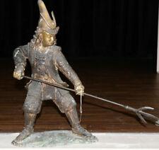 Meiji Zeit (1868-1912) Japanische Samurai Krieger Statue Figur Antik Spear