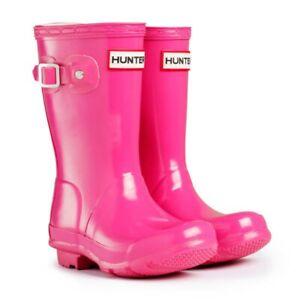 Hunter Original Kids Gloss Wellington Boots Bright Pink Girls Wellies Size UK 4