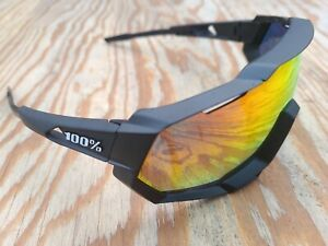 100% Speedtrap Soft Tact Black Cycling Sunglasses - Red Mirror Lens