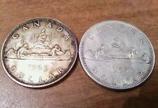 Lot of 2 Canada Silver Dollars, 1963 & 1965 .800 Nice