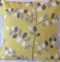 "Ochre Grey Graphic Leaf Handmade Cushion Cover matches Next Curtains 16x16"""