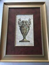 """Nice Greek Vase/Urn Handcolored Lithograph Art Print, Framed, 9"""" x 17"""" (Image)"""