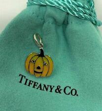 Tiffany&Co. Sterling Silver 925 Enamel Jack O Lantern Pumpkin Halloween Charm