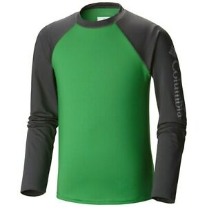 COLUMBIA Omni Shade Steamboat Rock L/S Green Sunguard Shirt Youth Boys L