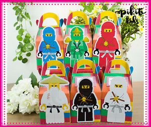 NINJAGO LEGO TREAT PARTY BOXES KID BIRTHDAY LOLLY LOOT BAGS SUPPLIES DECORATIONS