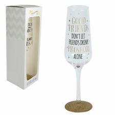 Signography Sparkling Prosecco Flute Glass in Gift Box - Good Friends..