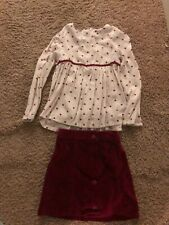 Girls size 5/6 burgundy and white Toughskins blouse and skirt outfit