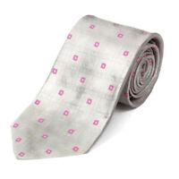 BVLGARI Silver Geometric Pink Shimmering 7 Fold Mens Silk Neck Tie Bulgari