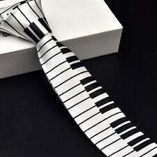 NEW Slim Tie Polyester Black & White Piano keyboard Pattern SKINNY Tie Music Tie