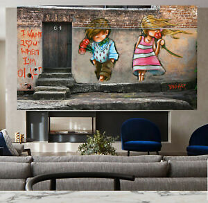 abstract Love you heart Street Art canvas painting not Banksy by andy baker