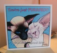 Siamese cat art painting Valentines card original design by Suzanne Le Good