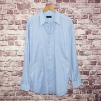 CANALI Men's Button Front Dress Shirt Blue Cotton Made in ITALY Size 17 1/2
