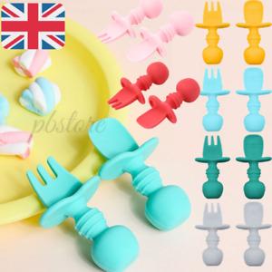 Baby Silicone Spoon & Fork Utensils Self Feeding Training Cutlery Set UK
