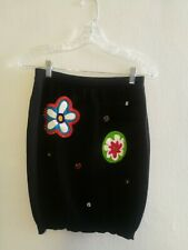 Moschino Knitted Knee Length Black Skirt 42 IT US 4
