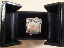 Sterling Silver Mother of Pearl Marcasite Art Nouveau Inspired Ring Size 7.5