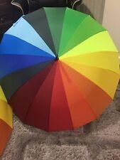 Large & Bright Multi-coloured Rainbow Golf Umbrella 16 Panel AUTO Wedding STRONG