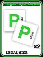 #SINGLE GREEN P PLATE FUNNY STICKER NON MAGNETIC LEGAL SIZE LICENCE REGO x2