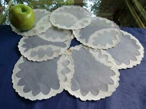 """8 Unused Madeira Organdy 6"""" Rnd Tea Doilies Cocktail Coasters Scalloped Applique"""