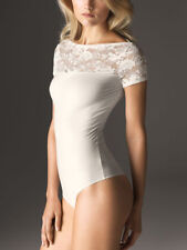 "NEW AUTHENTIC WOLFORD CLAIR LACE  String Body Size SMALL   ""Whitewash"" Boxed"