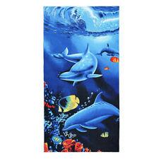 Blue Dolphin Print Soft Microfiber Beach Bath Towel Bathroom Washcloth 70x150cm