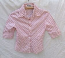 Jousse Paris Shirt Women 38 Stripe Pink Floral Top Pillow Ticking