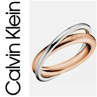 CALVIN KLEIN Double Ring Stainless Steel RoseGold/Silver tone, New with Tag $55