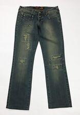 Gaudi jeans donna slim W28 tg 42 gamba dritta vintage denim blu destroyed T3632