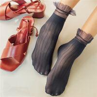 Women Ankle Socks Soft Silk Multicolor Elastic Stylish Mesh Ruffle Frill Sox KV