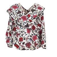 DVF DIANE VON FURSTENBERG Blouse White Floral Ruffle RRP £273 BG