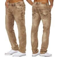 Herren Jeans bleached stonewashed denim Baumwolle Hose comfort regular fit Neu