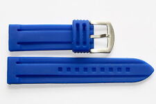 22MM BLUE SOFT SILICON RUBBER MENS SPORT DIVER WATCH BAND STRAP FITS FOSSIL