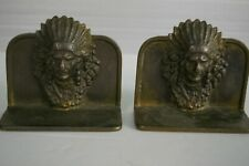 Vintage Cast Iron Bookends Indian Chief