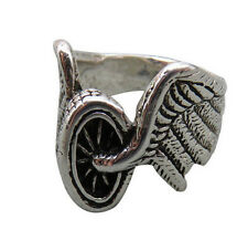 G&S Vintage Biker Ring Harley Motorcycle Tire Wheel Unisex Size 8 Silver 14q