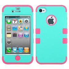 Apple iPhone 4 4S Rubber Silicone TUFF Cute Trendy Phone Case Cover Accessory