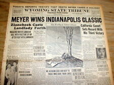 1936 headline display newspaper INDIANAPOLIS 500 AUTO RACE won by LOU MEYER