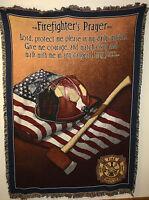 "Brand New `Firefighter's Prayer` Fire Rescue Tapestry Throw Blanket 48"" X 60"""