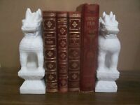 BOOKENDS Hand Carved White Alabaster Marble FOO DOG Shisa Shi Lion Statues 8.5""