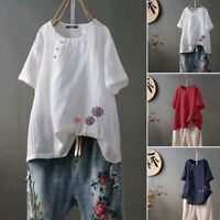 ZANZEA 8-24 Women Casual Short Sleeve Floral Embroidered Top Tee T Shirt Blouse