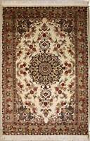 Rugstc 4x6 Pak Persian Ivory Area Rug, Hand-Knotted,Floral with Silk/Wool Pile
