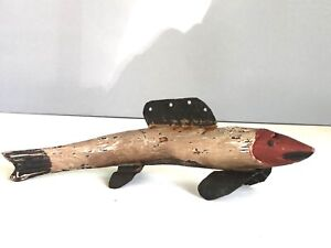 "Large 12""  Antique Fish Decoy Primitive Nice Paint Spearing Ice , Wood Metal NR!"